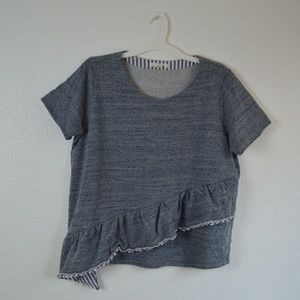 Caslon grey poplin ruffle sweater t shirt